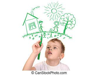 ragazzo, disegno, suo, famiglia, vicino, penna feltro-punta,...