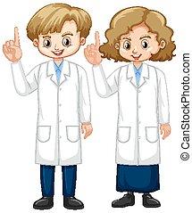 ragazzo, dito, scienza, veste, indicare, ragazza