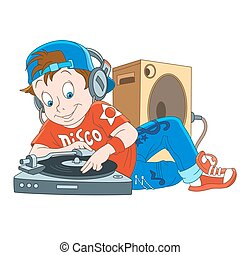 ragazzo, dj, cartone animato, discoteca