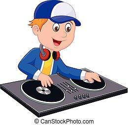 ragazzo, dj, cartone animato