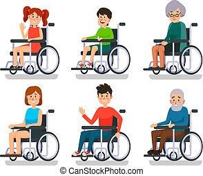 ragazzo, donna, paziente, wheelchair., persone, ospedale, invalido, persone, vettore, disability., sedie rotelle, vecchio, set, ragazza, uomo