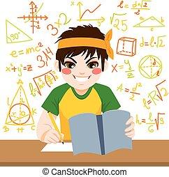 ragazzo, duro, studiare