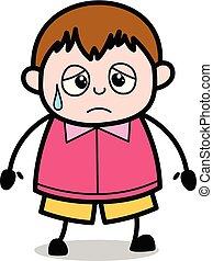 ragazzo, esaurito, -, grasso, vettore, illustrazione, cartone animato, adolescente