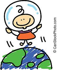 ragazzo, esplorare, astronauta, cartone animato, spazio