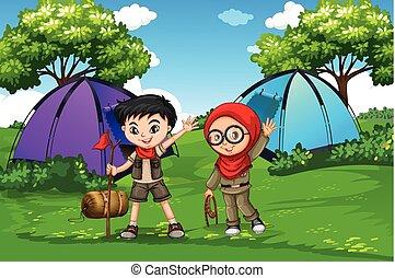 ragazzo, esploratore ragazza, foresta, campeggio
