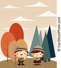 ragazzo, esploratore ragazza, foresta