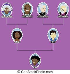 ragazzo, famiglia, interrazziale, albero, nato, matrimonio, cartone animato