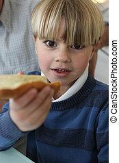 ragazzo, fetta, bread