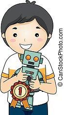ragazzo, fiera, scienza, robot, posto, 1, capretto