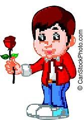 ragazzo, fiore, cartone animato, rosa
