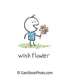 ragazzo, fiore