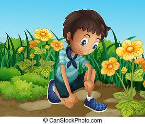 ragazzo, fiori, azzurramento, triste