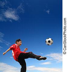 ragazzo, football, asiatico, gioco