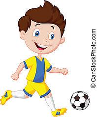 ragazzo, football, cartone animato, gioco