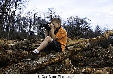 ragazzo, fotografare, foresta