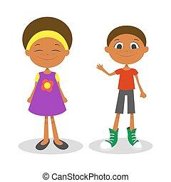 ragazzo, freckles, giovane, illustrazione, americano, vettore, ragazza, afro, felice