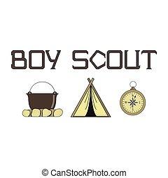 ragazzo, fuoco, illustrazione, luminoso, compass., esploratori, tenda