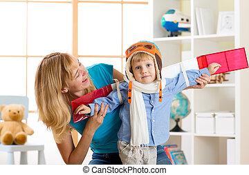 ragazzo, giocattolo, come, vestito, ali, bambino, casa, gioco, pilota