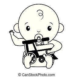 ragazzo, giocattolo, doccia, treno, fondo, bambino, bianco