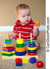 ragazzo, giocattolo, impilamento, cultura, bambino, gioco
