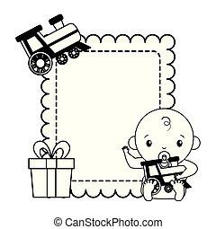 ragazzo, giocattolo, regalo, doccia, treno, bambino