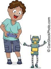 ragazzo, giocattolo, remoto, robot, capretto