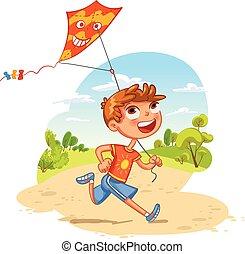 ragazzo, giochi, aquilone, divertente, carattere, park., cartone animato