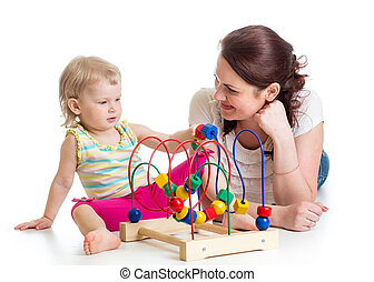 ragazzo, gioco, giocattolo, colorare, madre, educativo, bambino