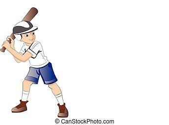 ragazzo, gioco, illustrazione, baseball