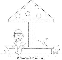 ragazzo, gioco, in, il, sandbox, contorno