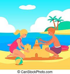 ragazzo, gioco, ragazza, caucasico, sabbia, costruire, spiaggia castello, bambini, sea.