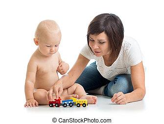 ragazzo, gioco, suo, bambino, giocattolo, madre