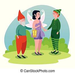 ragazzo, gnomo, elfo, ragazza, fata, uomo