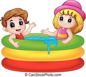 ragazzo, gonfiabile, cartone animato, ragazza, giocando piscina