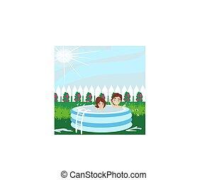 ragazzo, gonfiabile, ragazza bambino, giocando piscina