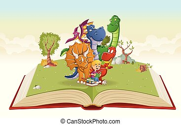 ragazzo, grande, dinosauri, libro, lettura, aperto, cartone animato