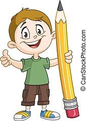 ragazzo, grande, presa a terra, matita
