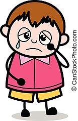 ragazzo, -, grasso, pianto, vettore, illustrazione, finto, cartone animato, adolescente