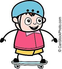 ragazzo, -, grasso, vettore, illustrazione, skateboarding, cartone animato, adolescente
