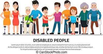 ragazzo, gruppo, aiuto, carrozzella, persone, incapacità, studente, person., giovane, illustrazione, handicappato, vettore, invalido, amici, felice