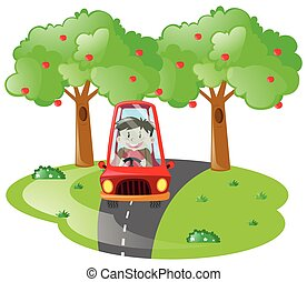 ragazzo, guida, in, macchina rossa, strada