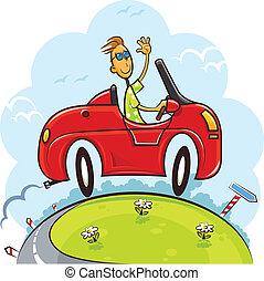 ragazzo, guidare, automobile