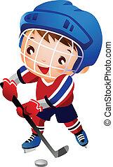 ragazzo, hockey, ghiaccio, giocatore