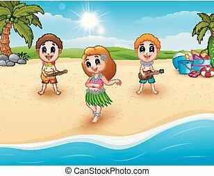 ragazzo, hula, hawaiian ballando, chitarra, ragazza, spiaggia, gioco