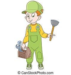 ragazzo, idraulico, cartone animato
