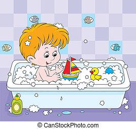 ragazzo, il bagnarsi
