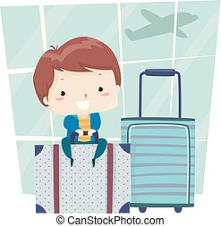 ragazzo, illustrazione, borsa, aeroporto, viaggiare, capretto