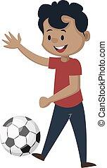 ragazzo, illustrazione, football, fondo., vettore, bianco, gioco