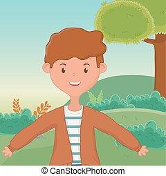 ragazzo, illustrazione, vettore, disegno, adolescente, cartone animato