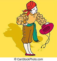 ragazzo, illustrazione, vettore, spagnolo, flamenco, tipico